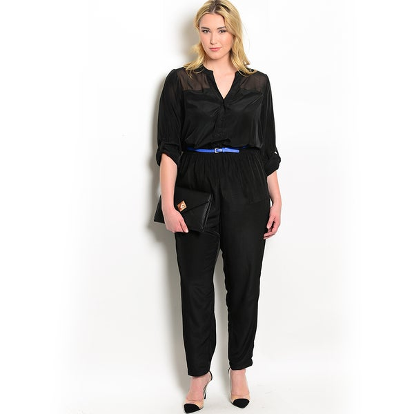 Shop The Trends Women's Plus Size 3/4-sleeve Woven Jumpsuit with Sheer Yoke and Skinny Belt