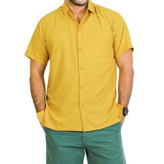 La Leela Men's Viscose Solid Mustard Hawaiian Shirt
