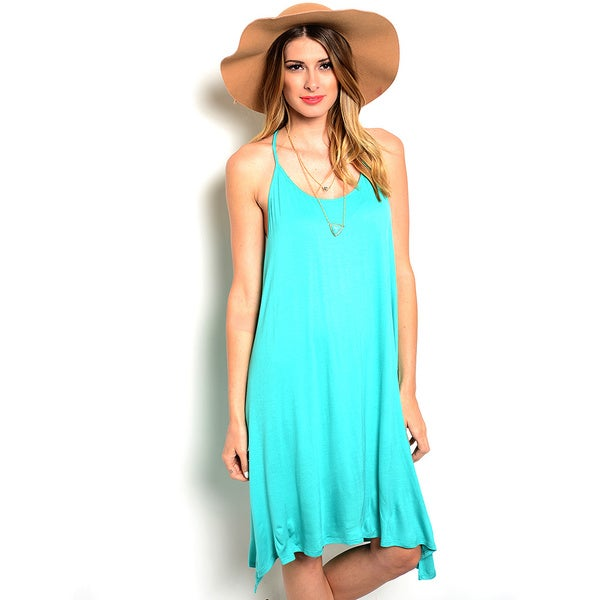 Shop The Trends Women's Spaghetti Strap Knit Hi-low Dress with Asymmetrical Hem Line