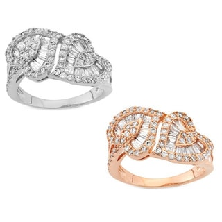Gioelli Silver and Rose Gold Plated Double Heart Cubic Zirconia Ring