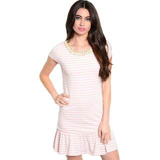 Shop The Trends Women's Short Sleeve Short Dress with All-over Striped Print and Peplum Hem