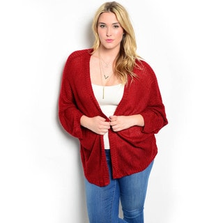 Shop The Trends Women's Plus Size 3/4-sleeve Lightweight Knit Cardigan Sweater with Open Front Design