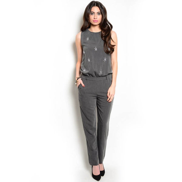 Shop The Trends Women's Sleeveless Jumpsuit with Belt Loops and Jeweled Embellishments