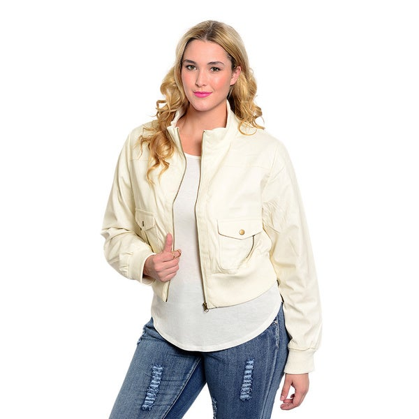 Shop The Trends Women's Plus Size Long Sleeve Faux Leather Jacket with Front Zip Closure