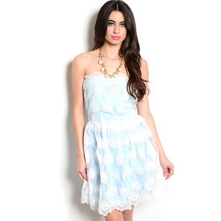 Shop The Trends Women's Strapless Fit and Flare Dress with Scalloped Overlay and Contrast Colored Lining