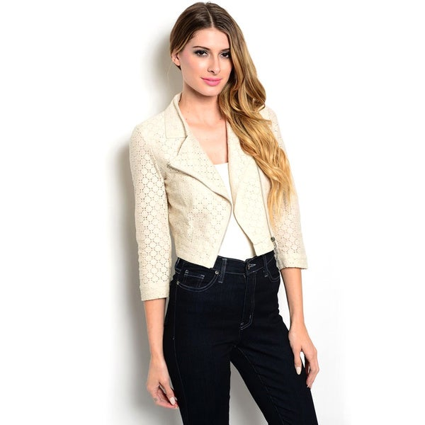 Shop The Trends Women's 3/4-sleeve Moto Style Jacket with Contrast Crochet Design