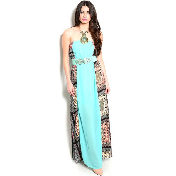 Shop The Trends Women's Strapless Maxi Dress with Multicolor Printed Panels Along Sides and Stretch Belt