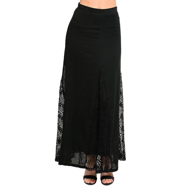 Shop The Trends Women's A-line Maxi Skirt with Sheer Lace Triangular Hem Inset (As Is Item)
