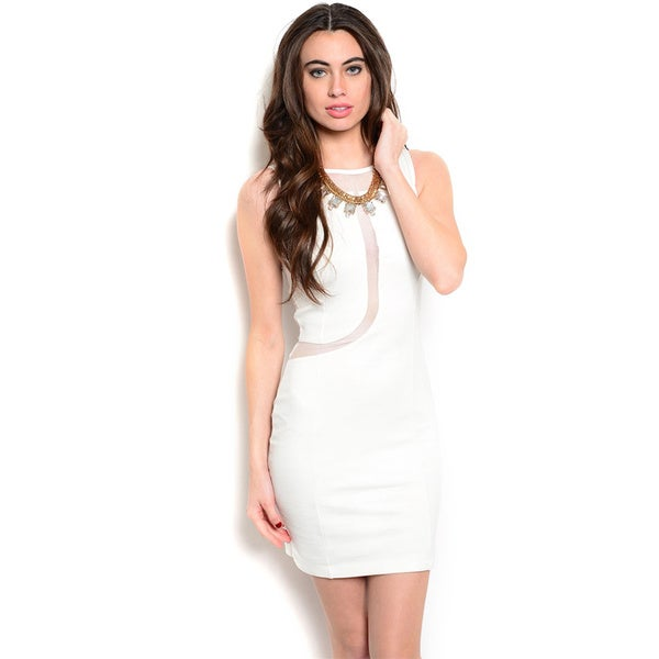 Shop The Trends Women's Sleeveless Short Dress with Curved Mesh Insert on Center Front