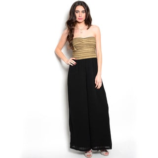 Shop The Trends Women's Strapless Combination Jumpsuit with Bandage Bodice with Metallic Accent