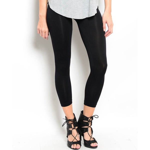Shop The Trends Women's Basic Soft Full Length Leggings with Elastic Waist