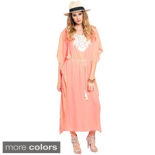 Shop The Trends Women's 3/4-sleeve Woven Maxi Dress with Flutter Sleeves and Crochet Detail on Yoke