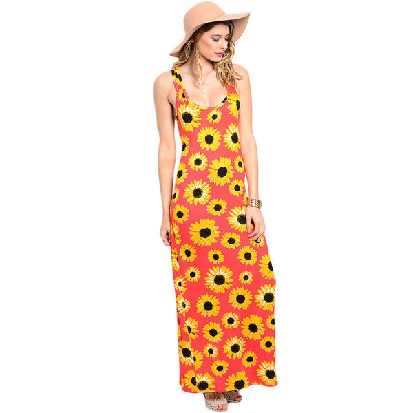 Shop The Trends Women's Sleeveless Knit Maxi Dress with Scoop Neckline and Daisy Floral Print