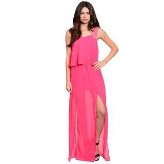 Shop The Trends Women's Sleeveless Sheer Chiffon Maxi Dress with Scalloped Crochet Shoulder Straps