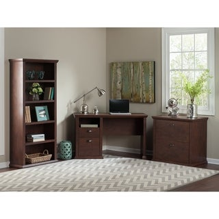 Bush Furniture Yorktown Collection Single Pedestal Desk with Bookcase and Lateral File