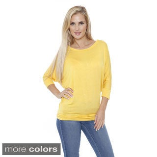 White Mark Women's Solid Boatneck Dolman Top