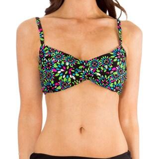 Mazu Swim Metal Leaf Black Twist Front Bikini Top