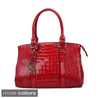 Rimen & Co Patent Crocodile Embossed Handbag