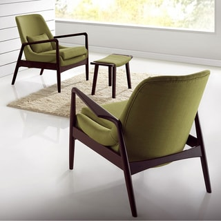 Dixon Mid-century Modern Walnut Wood Finished Green Fabric Upholstered Lounge Chair
