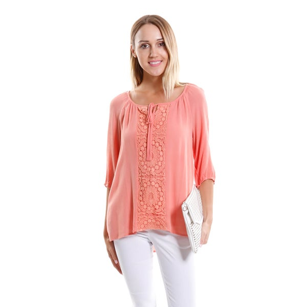 Hadari Women's Long Sleeve Lace Detail Blouse