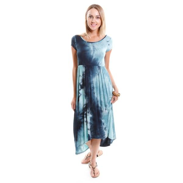 Hadari Women's Tie-dye High Low Maxi Dress