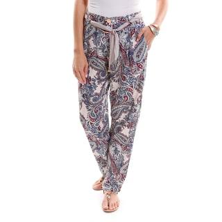 Hadari Women's Brocade Belted Casual Pants