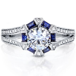 Annello 14k White Gold Round-cut Moissanite, Blue Sapphire and 1/4ct TDW Diamond Art Deco Engagement