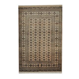 Herat Oriental Afghan Hand-knotted Turkoman Beige/ Brown Wool Rug (6'4 x 9'8)