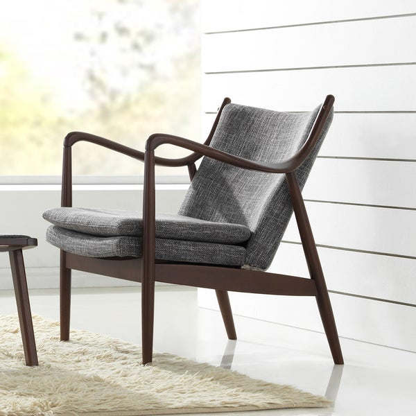 Diamond mid century modern grey fabric upholstered club - Modern upholstered living room chairs ...