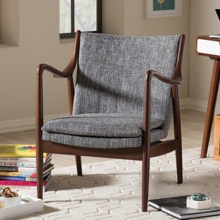 Diamond Mid-Century Modern Grey Fabric Upholstered Club Chair With Hand-Stained Wood Base In Walnut Finishing