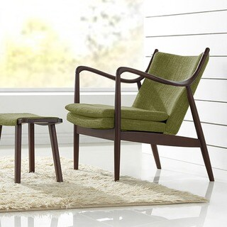 Baxton Studio Diamond Mid-century Modern Walnut Finished Green Fabric Upholstered Lounge Chair with Hand-stained Wood Base
