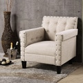 Dandridge Contemporary Beige Fabric Upholstered Button Tufted Tub Chair/Club Chair With Silver Brass Nail Head Trim