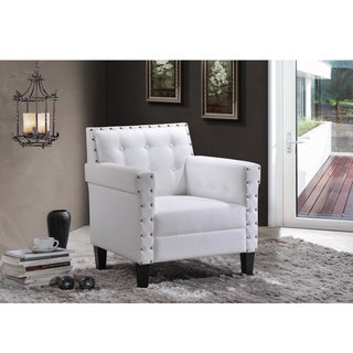 Dandridge Contemporary White Fabric Upholstered Button Tufted Tub Chair/Club Chair With Silver Brass Nail Head Trim