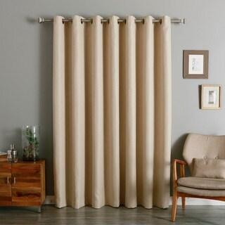 Aurora Home Wide Width Small Basketweave Linen Look Room Darkening Grommet Curtain Panel
