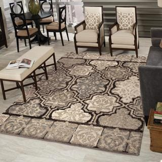 Metropolitan Modern Tile Black Area Rug (9' x 13')