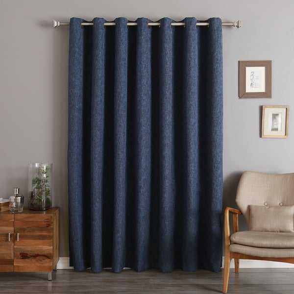 Aurora Home Wide Width Heathered Linen Look Blackout Grommet Curtain Panel (As Is Item)