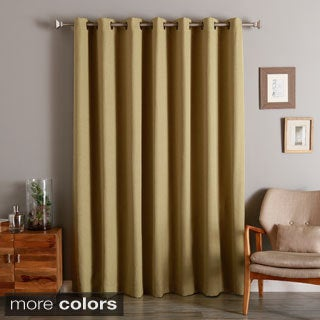 Wide Width Linen Look Room Darkening Grommet Curtain Panel