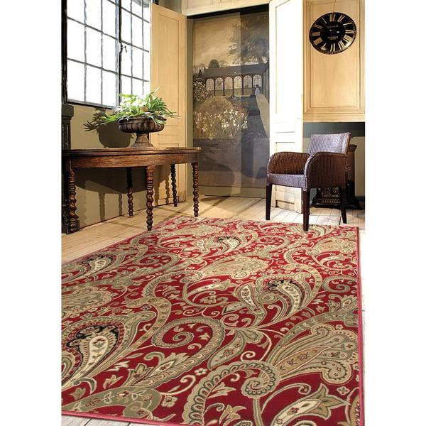 "American Heirloom Kashmir Claret Area Rug (7'10"" x 10'10"")"