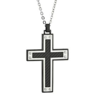 Stainless Steel Carbon Fiber Men's Cross Pendant Neckalce
