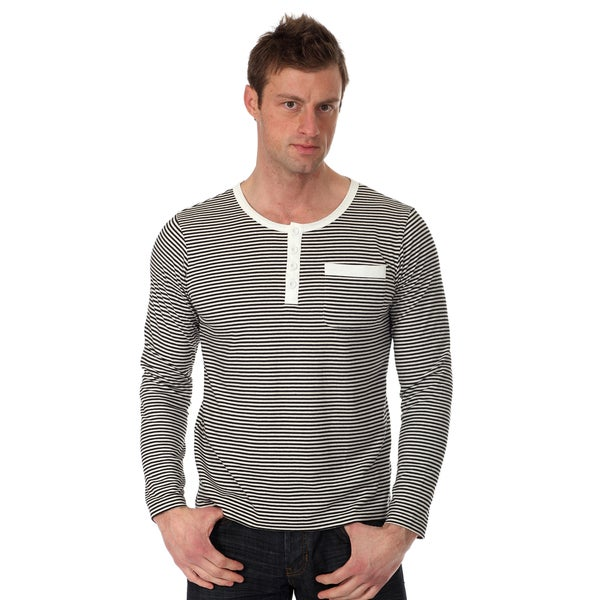 Oxymoron Men's Striped Henley Knit Shirt