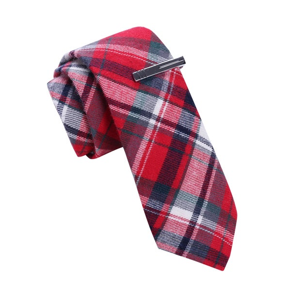 Skinny Tie Madness Men's Red Skinny Tie with Tie Bar