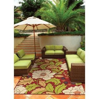 """Indoor/ Outdoor Veranda Tillis Brick Red Area Rug (5'2"""" x 7'6"""")"""