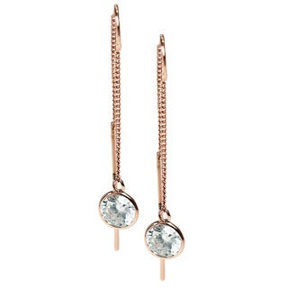 Michael Valitutti Rose Gold Over Silver Cubic Zirconia Chain Earrings
