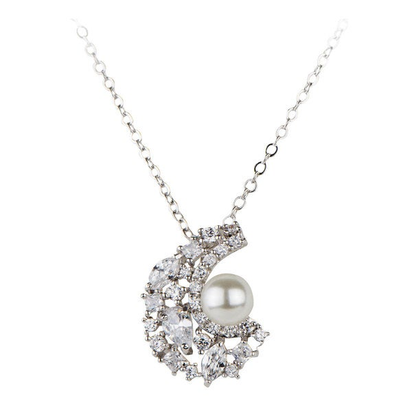 Brass Vintage Bridal Pearl and CZ Necklace 15472498