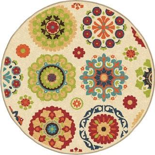 """Indoor/ Outdoor Veranda Hubbard White Round (7'8"""" Round)"""
