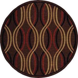"Indoor/ Outdoor Four Seasons Regatta Café Au Lait Area Rug (7'8"" Round)"