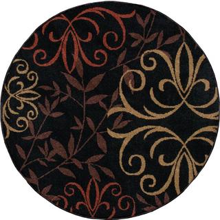 "Indoor/ Outdoor Four Seasons Josselin Black Area Rug (7'8"" Round)"