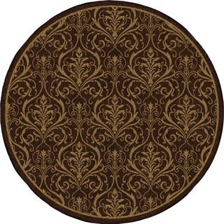 "Indoor/ Outdoor Four Seasons Lynch Café Au Lait Round (7'8"" Round)"