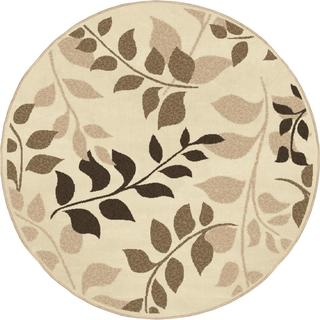 "Indoor/ Outdoor Four Seasons Olive Grove Driftwood Area Rug (7'8"" Round)"