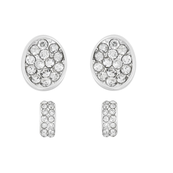 Facet Nation Rhodium-plated Oval and Hoop Crystal Earring Set